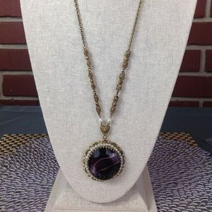Jewelry - Vintage Art Deco Glass Amethyst Statement Necklace